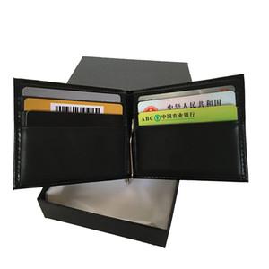 Uomo Portafoglio fatture cuoio del supporto di vendita calda Documento Black Classic Caso europeo Top Licenza Slim Breve raccoglitore della carta di ID Designer del conducente