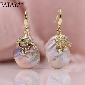 Pataya Neuheiten Süßwasser Unregelmäßigen Perlen Ohrringe Weiß Runde Natürliche Zirkonia Ohrringe Frauen Luxus Hochzeit Gold Schmuck C19041101