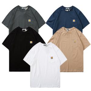 2020ss camiseta de estilo japonés Carhat bolsillo clásica el pequeño remiendo corto de algodón manga de la manera Crew cuello simple salvaje de la media manga de nuevo estilo