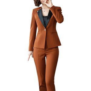Large Size Women 2 Pieces /Set Womens Office Business Suits Pants Suit Formal OL Business Suit Long Sleeve Trouser Sets