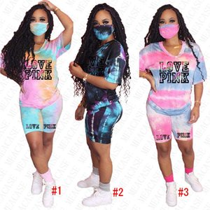 Women Tracksuit Designer Tie-dye Printed Letters Summer Short Sleeves T Shirt Tops Shorts 2 Piece Clothing Sets Outfits Sports Suit D52002