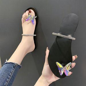 Slipper punta rotonda delle donne Strass farfalla Summer Beach diapositive Flip Flops pattini esterni Dazzling Donna casuale Slides Solid