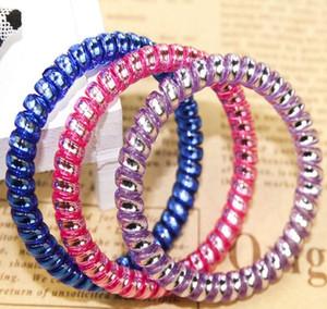 DHL geben Frauen buntes Hairband-Mädchen-Süßigkeit-Farben-Stirnband-Telefonkabel-elastische Pferdeschwanz-Halter-Haar-Ring-Durchmesser 5cm frei