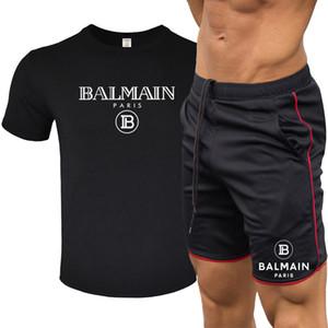 Balmain Survêtements hommes Designer T-shirts Respirant Costume T-shirt décontracté des femmes des hommes à manches courtes T-shirt + pantalon court Costume sauvage