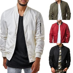 Casual Jacket Men Loose Outdoor Sport Baseball Bomber Jacket Autumn O neck Red Black White Amy Green Colors Autumn Spring