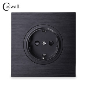 Coswall lusso Nero Alluminio Pannello 16A di potere della parete della presa di corrente standard UE Grounded con figlio Blocco di protezione