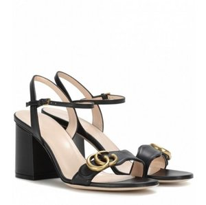 Неделя моды женщин ретро блок каблуки Marmont украшенные кожаные сандалии открытым носком сандалии аппаратные украшения каблуки летние сандалии