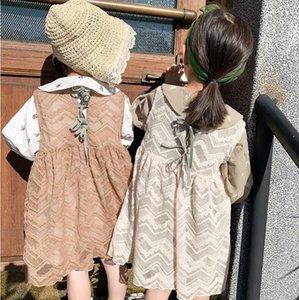 2020 Spring Lace Bow Vest Dress For Girls Princess, Children Fashion Sweet Solid Dress 6 pcs lot, Wholesale