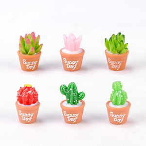 Simulación Cactus Succulent Pot Bonsai miniatura Micro-paisaje musgo terrario de la planta decoración Hada del jardín de accesorios Arte de la resina de material de bricolaje