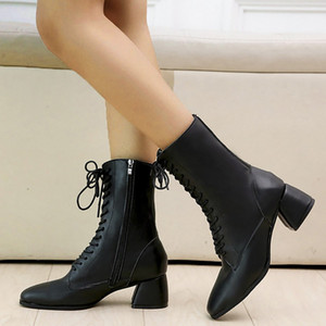 Hot Sale-Frauen-Winterstiefel 2020 Winter Fashion Damen schnüren sich oben Mode Hoof Heels Med Zipper Middle Shaft Stiefel bota feminina