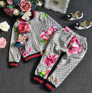 Crianças Suit Primavera Boy Girl Autumn Terno Flor jacket + Calças 2 Pcs Conjuntos de roupa dos miúdos Casual menina Baby Boy Set Costume