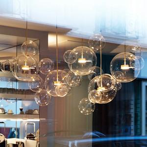 Limpar lustres sala bola de vidro art deco tons bolha lâmpada lustre moderno interno iluminação restaurante Iluminacao