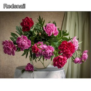 5D DIY Diamond Wall Painting Embroidery Sticker picture peonies Flower Full Square round Drill Handmade Cross Stitch art TT265