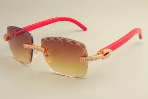 hot gravierten X-förmige Linse T8300177-C Sonnenbrille Mode großer Diamant dekorativer Sonnenschutz rein natürliches rotes Holzbein Tempel Sonnenbrillen