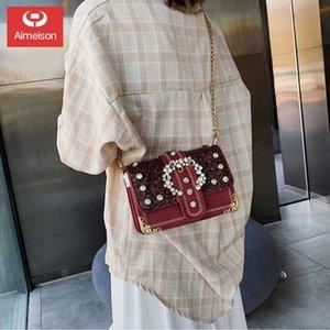 senso advanced nuovo modo piccola cinghia quadrato catena singola spalla Rhinestone paillettes borse donne diagonali mano