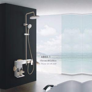 Matte Preto Torneira Do Chuveiro Conjunto Banheiro Rainfall Shower Mixer Torneira Do Banheiro Móveis Sistema de Chuveiro e Caixa De Armazenamento Commodity Prateleira