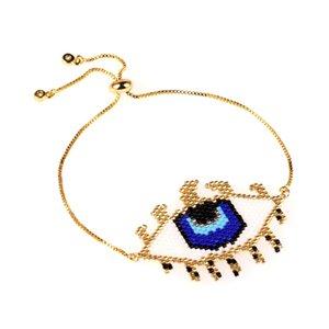 سوار الأزياء الرقيق MIYUKI Mizhu اليدوي الرموش الذهبية Blue Eye Bracelet ليدي سوار الموضة