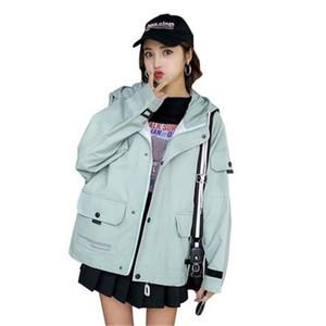 2019 femmes manteaux printemps automne vestes occasionnels bf à capuche survêtement filles tops à manches longues coupe-vent manteau femme V711