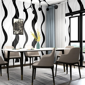 Nordic abstrata moderna listrada branca e faixa preta Wallpaper Papel De Parede 3D Suede Quarto fundo Sala TV Wall Paper Rolls