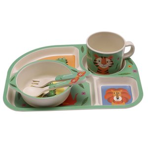Baby Bamboo Fiber 5 Pcs Set Tableware Set Baby Plate Children Cartoon Separation Plate Bowl Fork Spoon Cup Set Feeding Supplies