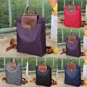 Lazer Viagens Nylon Zipper Bag Estudante Backpack Folding Bolsa de Ombro para meninas Mochila Feminino Viagem Backpack
