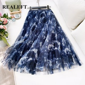 REALEFT Spring Summer Women Mesh Patchwork Vintage Pleated Long Skirts High Waist Harajuku Tulle A-Line Mid-Calf Skirts Ladies CX200703