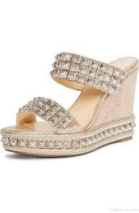 Summer Women Summer Sandals Red Bottom Shoes Wedges Heels, Luxury Red Soles ECU Wedge slide sandal crystal studs Wedding Party Women