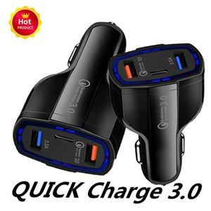 Горячая распродажа быстрая зарядка QC3 у.0, три порта USB Тип C автомобильное зарядное устройство быстрая зарядка автомобильное зарядное устройство двойной USB автомобильное зарядное устройство без упаковки