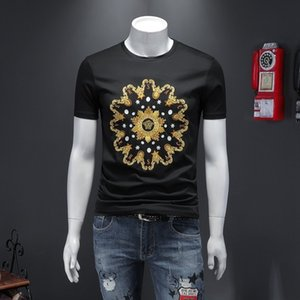 2020 Summer European fashion men embroidered mercerized cotton lapel short sleeve leisure T-shirt