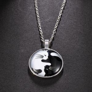 Nuova collana di dichiarazione animale per le donne moda donna yin yang cat pendant choker collane collane gioielli regalo con catena di collegamento