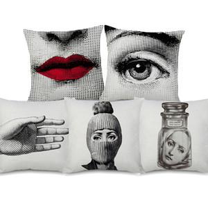11 Styles Visages Peintures housses de coussin rétro européenne Vintage Beauty Face Coussin yeux couverture Canapé Couch décoratif Linge Taie