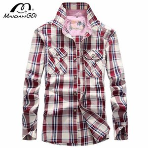 Men's Shirts 2020 Spring Autumn Long Sleeved Lattice Tops male's Slim Shirt 100% Solid Cotton Tops Men's Business Casual Shirts