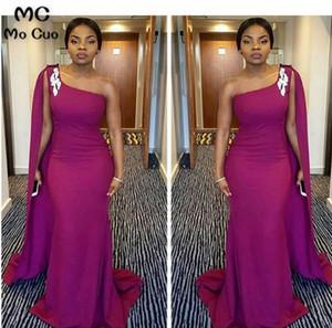2020 Elegant One Shoulder African Mermaid Bridesmaid Dresses Long Elastic Satin Prom Gowns Evening Dress Plus Size Custom Made