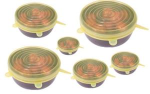 6PCS Set Silicone Stretch Suction Pot Lids Food Grade Fresh Keeping Wrap Seal Lid Pan Cover 4 Color Nice Kitchen Accessories New