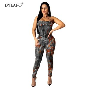 Vendita calda 2020 del denim di estate dei graffiti tuta pagliaccetti Backless sexy stampato Playsuit Lace Up Skinny tuta donna Tuta