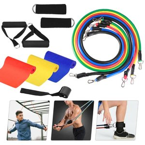 14pcs Resistance Bands Set Fitness Exercise Tube Bands Door Anchor Ankle Straps Cushioned Handles with Yoga Stretching