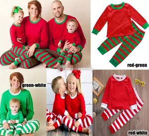 Familie Weihnachten Pyjamas Neujahr Familie passenden Outfit Mutter Vater Kinder Kleidung Streifen gedruckt Pyjamas 2er Sets Nighty DHL frei