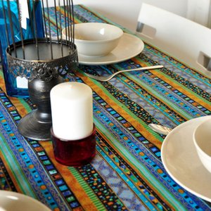 Colorful strip nationality Table Cloth tablecloth dinner Mat Cover lace around printed style kitchen Dec wholesale FG220