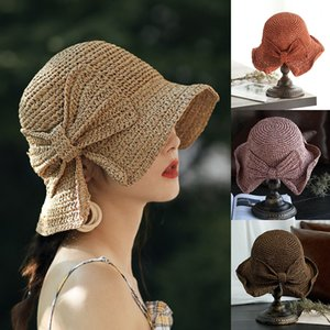 2020 Summer Women Girls Straw Hat Lady 8 Colors Simple Bow Fisherman Hat Trip Crochet Sun Shade Cap Grass Braid Beach Hats Z0808