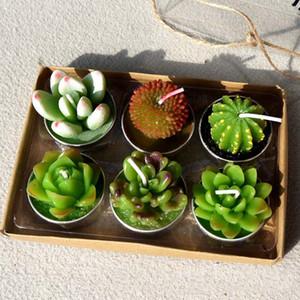 Velas da Festa de Casamento decorativa Mini Cactus Candle Table Tea Light Home Garden Planta de Simulação de Natal Castiçais 6 Pçs / set XD21032