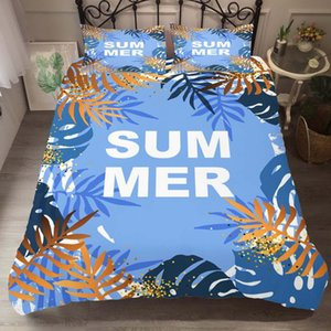 Duvet Cover Set Bedding Comforter Summer Tropical leaves Printed Bedroom Clothes with Pillowcases for Adult King Queen Size