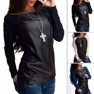 Nouveau Femmes Sexy en cuir à manches longues Sweat-shirt T-shirt décontracté en vrac T TOP Hauts nouveau style de la mode 2019
