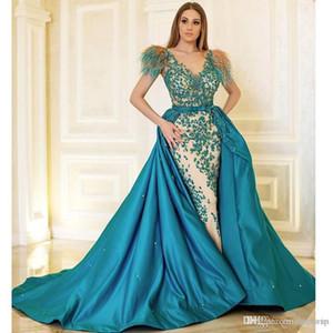 2020 desmontable tren pluma vestidos de noche con cuello redondo con cuentas sobrefalda sirena vestido de la celebridad con forro de raso árabe Dubai vestido formal