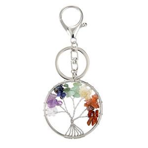 Дерево Жизни Кулон Keychains Природный камень Кристалл брелоков Key Chain 7 Chakra Healing Круглый ручной ключ Key Ring Автомобильный держатель сумка Подвески