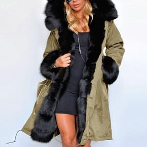 Naiveroo Зимнее пальто Роскошные женщин искусственного меха Повседневный Теплый капюшоном Толстовка утепленная Длинные Trench куртка Верхняя одежда Негабаритные Plus S-3XL