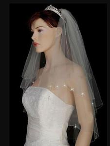 Sıcak satış 2020 düğün peçe ile boncuklu gelin yumuşak tül gelin peçe kısa katmanlı saç peçe aksesuarları ucuz