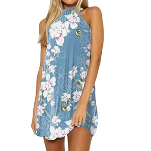 2019 vestido de mujer verano sin mangas sexy estampado floral Boho Beach vestidos de fiesta señoras halter cuello corto mini vestido vestidos # 059