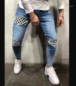 Holes Jeans ginocchio Street Style Casual pantaloni della matita Pantaloni Skateboard Mens del progettista dei pantaloni con pannelli Mens