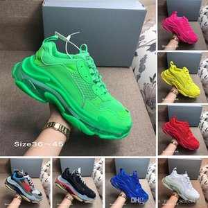 With Box designer 17FW Triple S Adds A Clear Bubble Midsole Sneakers mens women Neon Green luxury increasing Brand Casual Dad Shoes
