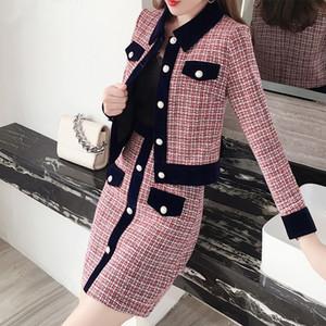 Winterfrauen Tweed Vintage Zwei Stück Rock Anzüge Sets Buttons Mantel und A-Line Rock Outfits Sets Elegante Mode 2 Stück Sets